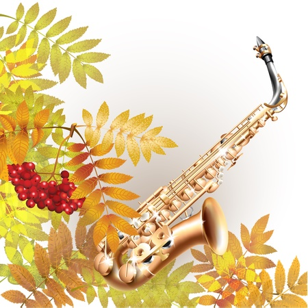 alto: Musical series - Classical saxophone alto, isolated on white autumn background with yellow leaves and a bunch of rowan