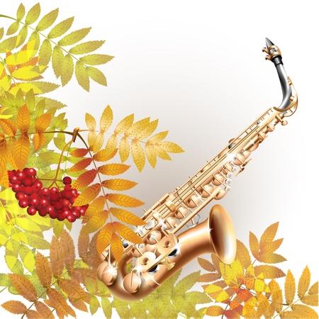 soprano saxophone: Serie Musical - Classical saxofón alto, aislado en fondo blanco otoño con las hojas amarillas y un montón de serbal