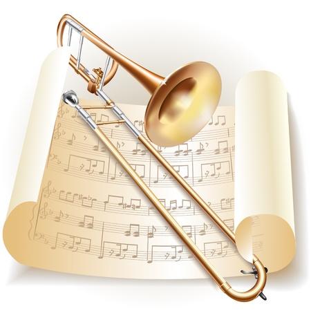trombon: Serie Musical - trombón clásico con notas en estilo retro Vectores