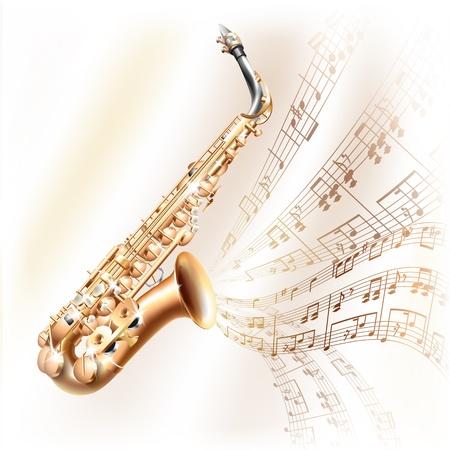 soprano saxophone: Musical serie de fondo - Classical saxof�n alto, aislado en fondo blanco con las notas musicales