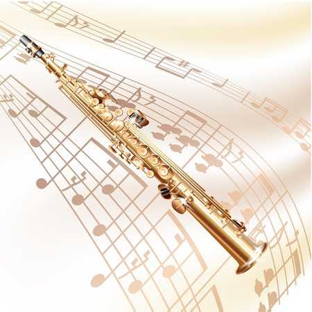 Musical background series - Classical soprano sax, isolated on white background with musical notes Vector