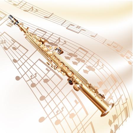 soprano saxophone: Musical serie de fondo - saxo soprano clásica, aislada en el fondo blanco con las notas musicales