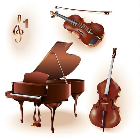 chiave di violino: Serie Musical - Set di tre strumenti musicali pianoforte a coda, violino e contrabbasso