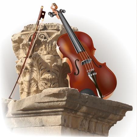 violines: Serie musical - violín clásico en el fondo antiguo columna Vectores