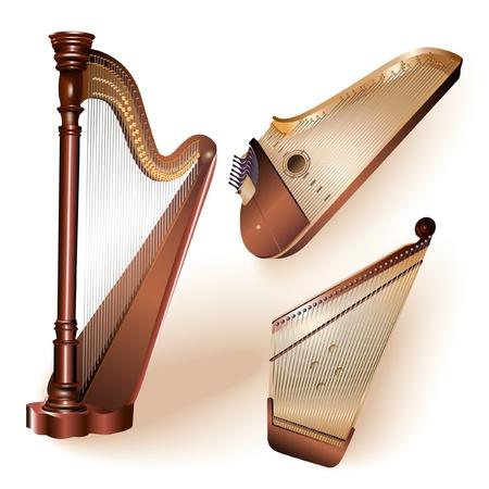 unplugged: Colecci�n de tres instrumentos tradicionales de cuerda pulsada - arpa cl�sica, let�n kokle y kantele finlandeses
