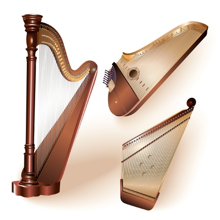 Collection of three traditional string plucked instruments - classical harp, Latvian kokle and Finnish kantele Illustration