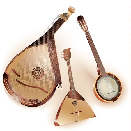 plucking an instrument: Collection of three traditional string plucked instruments - Ukrainian bandura, Russian balalaika and six-string Mexican banjo