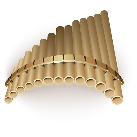 Musical series - Pan flute, isolated on white background Vector