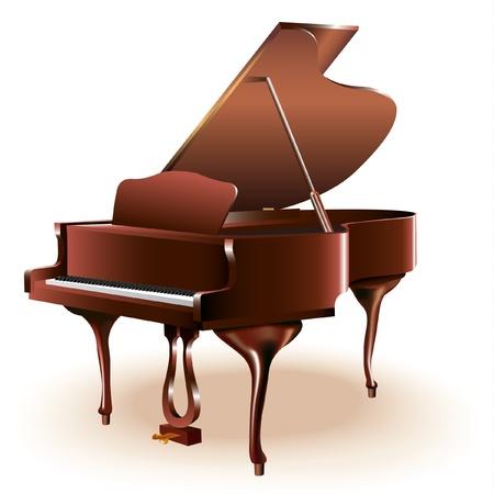 piano de cola: Serie Musical - Grand piano, aislado en fondo blanco Vectores