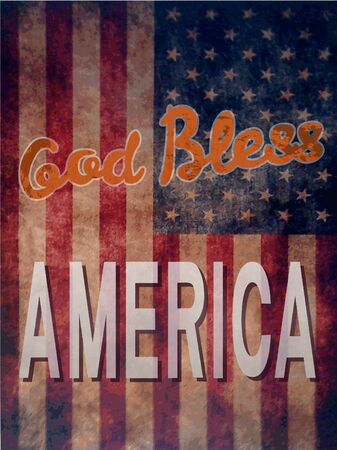 god bless: Vintage poster with grunge effects - God Bless America Illustration