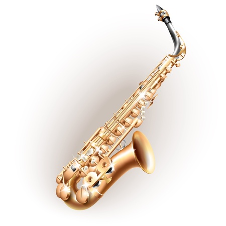 soprano saxophone: Serie Musical - Classical saxofón alto, aislado en fondo blanco