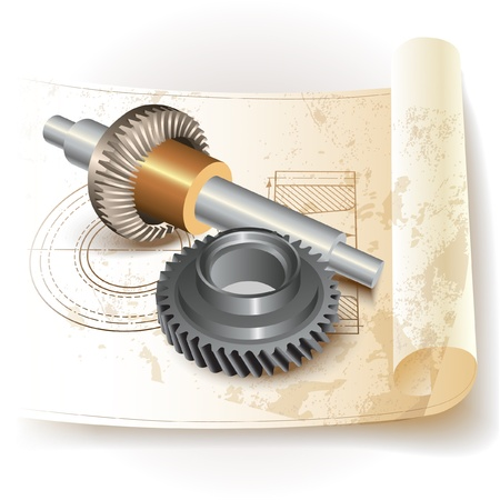 cad drawing: Mechanical ratchets and drafting - service, auto, automobile, automotive parts