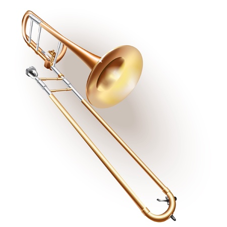 brass wind: Musical series - Classical trombone, isolated on white background