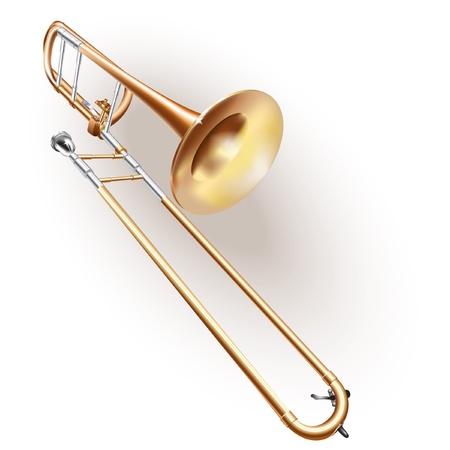 trombon: Serie Musical - trombón clásico, aislado en fondo blanco Vectores