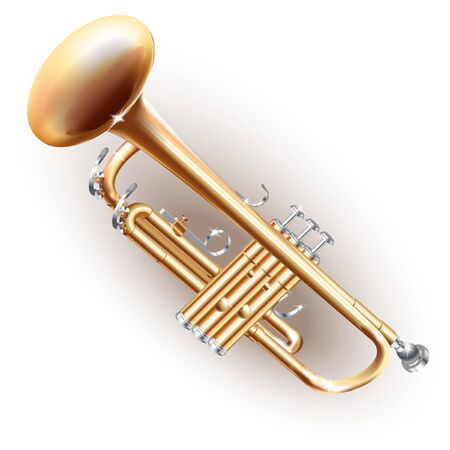 brass wind: Musical series - Classical brass trumpet, isolated on white background Illustration