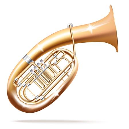Musical series - Classical Wagner tuba, isolated in white background Vektoros illusztráció