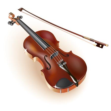 Serie Musical - Violín clásico, aislado en fondo blanco