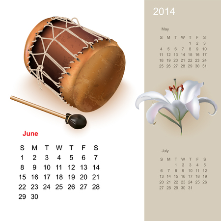 Colorful cute calendar for 2014 with musical design elements Vector