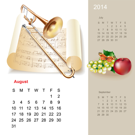 Colorful cute calendar for 2014 with musical design elements Stock Vector - 22646117