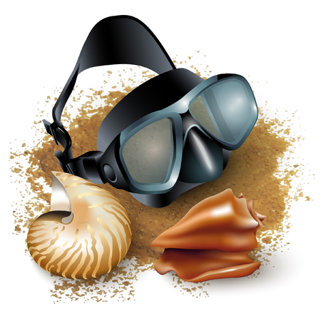 watersports: Set of two shells and a diving mask, isolated on white background