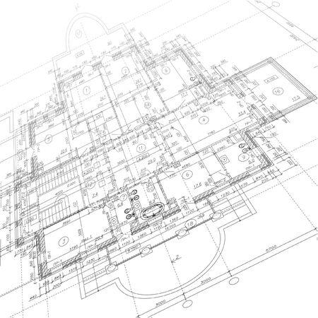 Architektonischer Hintergrund. Teil des Architekturprojekts. Vektor-Illustration Vektorgrafik
