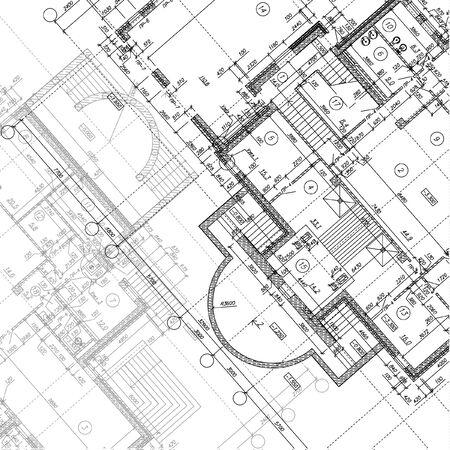 Fondo arquitectónico. Parte del proyecto arquitectónico. Ilustración vectorial