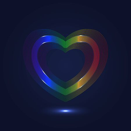 colorful heart: Colorful heart shaped lines abstract background