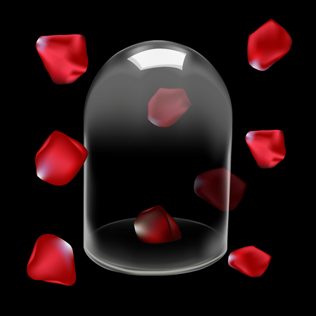 ploy: Glass dome and Rose petals