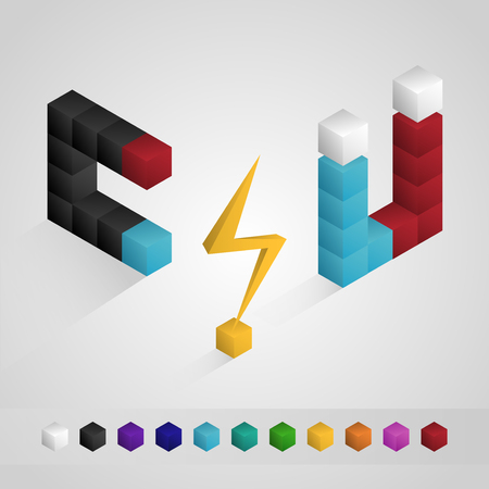 magnetization: Electricity and Magnetic isometric icon isolated