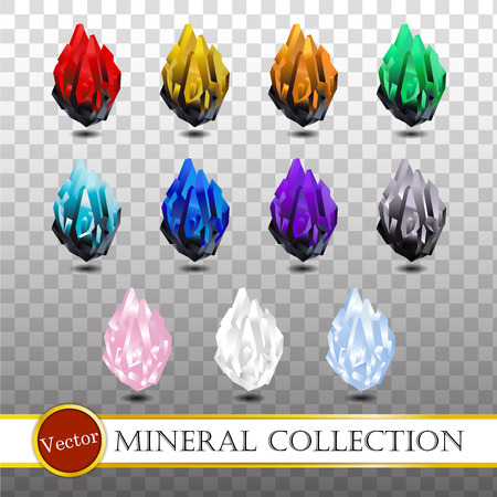 Mineral collection on transparency background illustration. Stock Illustratie