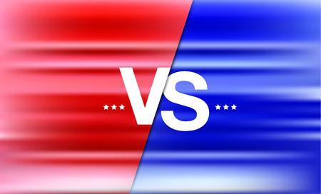 Vs battle headline, conflict duel between Red and Blue teams  - Vector