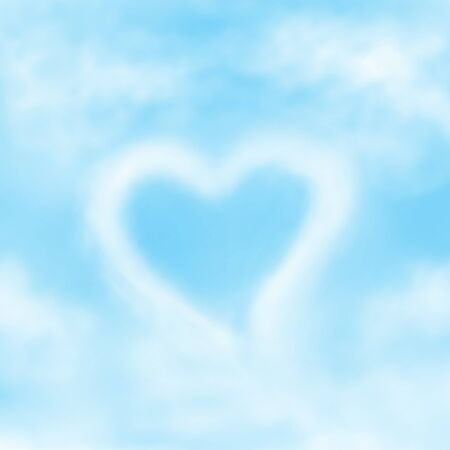 Clouds shaped illustration as Heart on sky background Stock Photo