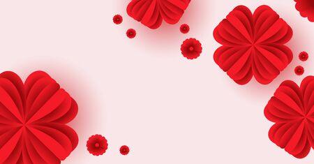 Paper elements in shape of flower flying on pink background. Ilustração