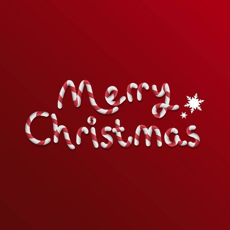 Merry christmas candy stick text and snows - vector illustration