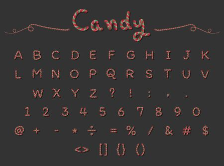 Candy Cane alphabet capital letter font design with red , green and white stripes Ilustracja