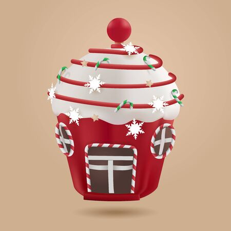 Candy House, Delicious sweet dessert of childhood dreams - vector illustration