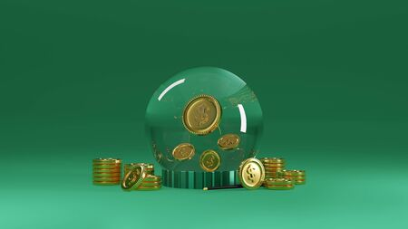 3d magic money, a crystal ball that allows money to flow endlessly like you are a financial wizard. 3d rendering.