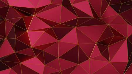 Abstract polygonal pattern luxury dark red with gold. 3d rendering.