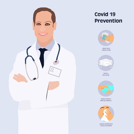 Vector - Simple Set of Covid-19 Protection Flat Icons. Icons as Guidance Protective Measures, Coronavirus Prevention, Hygienic Healthcare, Solution, Awareness, Hands Wash, Wear Face Mask