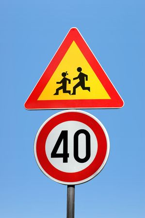 Two traffic signs (clipping path) Stock Photo