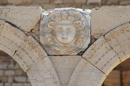Gorgon�s head, The Septimius Severus new forum, Leptis Magna, Libya Stock Photo - 856045