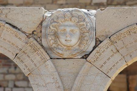 Gorgon´s head, The Septimius Severus new forum, Leptis Magna, Libya Stock Photo - 856045
