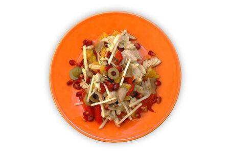 De pollo, apio, granada, naranja, el aceite de oliva y pimienta ensalada de naranja en placa  Foto de archivo - 2456408