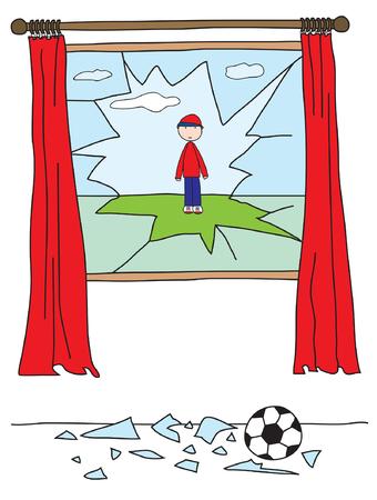 vetro rotto: Ragazzo a giocare con una palla e la rottura di una finestra  Vettoriali