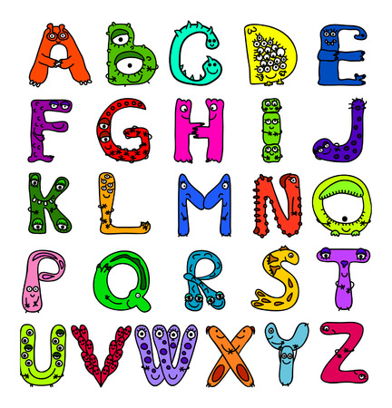 English alphabet letters as monsters