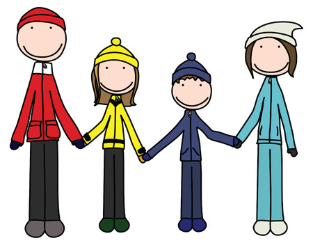 Illustration of happy family of four in winter clothes