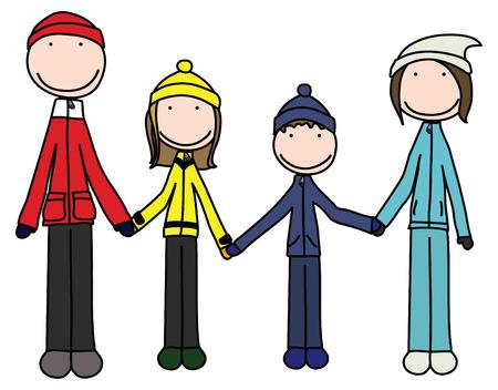 the mittens: Ilustraci�n de la feliz familia de cuatro personas en ropa de invierno