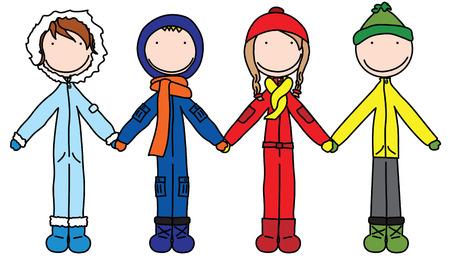 winter fun: Illustratie van de vier kinderen in de winter kleding holding hands