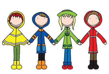 Illustration of four kids in raincoats holding hands