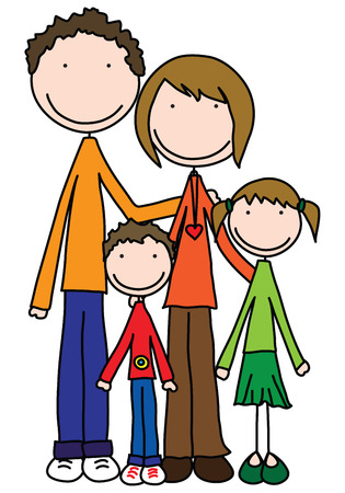 Smiling family of four holding together Illustration
